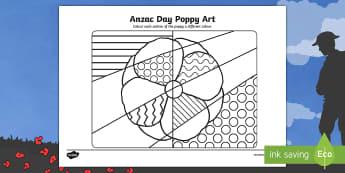 Anzac Day Poppy Art Worksheet / Activity Sheet - ANZAC Day - 25 April,Australia, poppies, colouring, art,