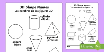3D Shape Words Colouring Sheet English/Spanish - shape, colouring, wet play, 3D shape, cylinder, sphere, pyramid, cone, cuboid, rectangular prism, cu