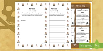 KS1 Pirates A Day in the life of...  Writing Frames - Career, Motivation, Ambition, Interview, Questions, Answers