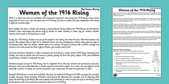 Women of the 1916 Rising Comprehension Think and Respond - irish history, 1916 rising, easter rising, display posters, ireland