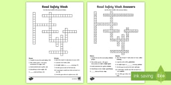 KS2 Road Safety Week Crossword - green cross code, staying safe, zebra crossing, lollipop person, pedestrian, helmet, traffic lights