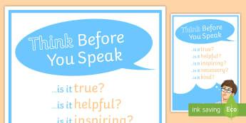 Anti Bullying: Think Before You Speak Display Poster - bullying, anti bullying, poster, behavior, think, speak