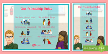 Friendship A4 Display Poster - Our Working Rules Poster - relationships, SEN, communication, frienship, freindship, relataionships