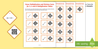 Year 3 Multiplication Tables Code Hunter - QR Codes, times, multiply, divide, multiplication, division, tables