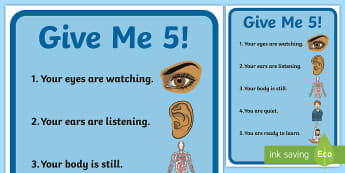 Give Me Five Display Poster - give me 5, management, classroom, behaviour management, poster, display
