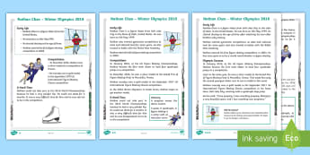 KS1 Nathan Chen 2018 Winter Olympics Athlete Differentiated Reading Comprehension Activity - winter olympians, US athletes, figure skating, PE, winter sports