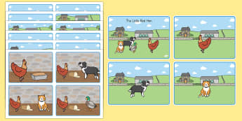 The Little Red Hen Story Sequencing Cards - the little red hen, little red hen story sequencing, little red hen story sequencing cards, traditional tale