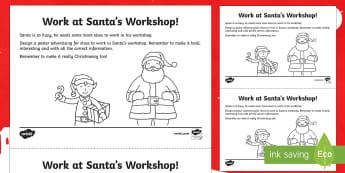 KS1 Santa's Workshop Job Advert Poster Worksheet / Activity Sheet - Christmas, Nativity, Jesus, xmas, Xmas, Father Christmas, Santa, Santa's workshop, elves, design a