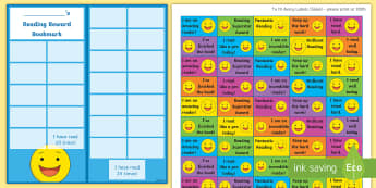 KS2 Smiley Faces Themed Reading Sticker Reward Bookmarks - Y3, Home Readers, Reading Log, Stickers, Motivation