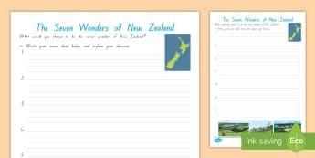 Seven Wonders of New Zealand Activity Sheet -  Chichen Itza, World, New Zealand, Christ The Redeemer, Colosseum, Geography, Taj Mahal, Great Wall