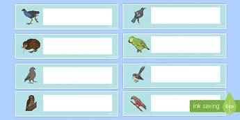 NZ native birds Editable Drawer, Peg, Name Labels