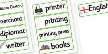 William Caxton Word Cards - william caxton, word cards, keywords