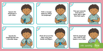 EYFS Playdough Play Activity Cards - Playdough Play, dough disco, finger gym, fine motor skills, physical development