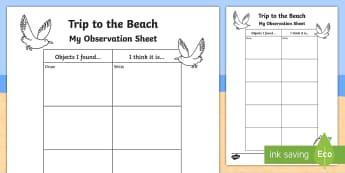 Beach Walk Observations Activity Sheet - Science Week, 10/03/17, 10th March, walk, beach, observation, coast, World Around Us, Literacy, trip