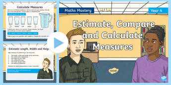 Year 4 Estimate Compare Calculate Measures Maths Mastery PowerPoint - Reasoning, Greater Depth, Abstract, Problem Solving, Explanation,