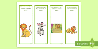 The Lion and the Mouse Editable Bookmarks English/Romanian - The Lion And The Mouse Editable Bookmarks - bookmarks, lion, editble, edidable, EAL