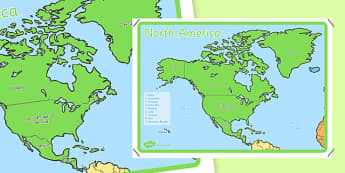Geography Continents of the World Posters North America 4xA4 - ks1, geography, continents of the world, posters, display, north america