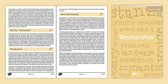 GCSE Poetry Notes for Study - 'Ozymandias'