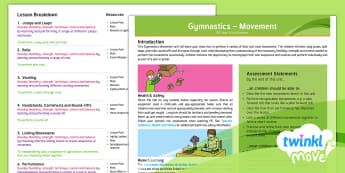 Twinkl Move - Y5 Gymnastics: Movement Overview - PE, indoor, jump, vault, roll, perform, agility, planning, medium term plan, lesson ideas
