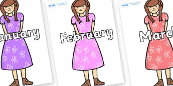 Months of the Year on Beautys Second Sister - Months of the Year, Months poster, Months display, display, poster, frieze, Months, month, January, February, March, April, May, June, July, August, September
