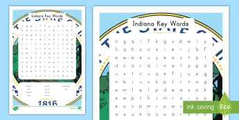 Indiana Key Words Word Search - Indiana, United States, Indianapolis, Hoosiers, vocabulary, word work, word search
