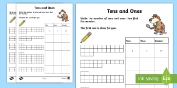 Tens and Units Activity Sheet - tens, units, ones, maths, partitioning, NI, KS1, Numeracy, homework, home learning, worksheet.