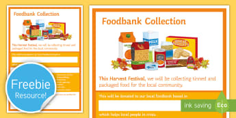 Food Bank Collection Harvest Festival Display Poster  - Food Bank, foodbank, hunger, charity, volunteer, community, food parcels, crisis.