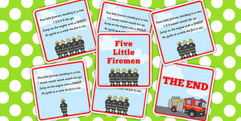 Five Little Firemen Counting Song Sequencing - firemen, song