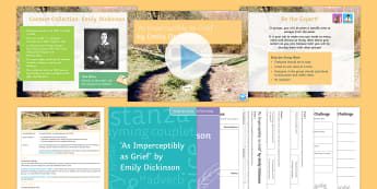 GCSE Poetry Lesson Pack to Support Teaching on 'As Imperceptibly as Grief' by Emily Dickinson - KS4, poetry, Eduqas, Dickinson, Grief, analysis
