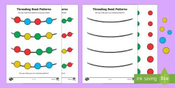 Repeating Pattern Bead Threading Worksheet / Activity Sheet - repeat, pattern, colour, bead, thread, repeating pattern, worksheet, activity, fine motor, threading
