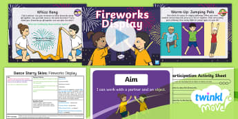 Twinkl Move - Year 1 Dance: Starry Skies Lesson 2 - Fireworks Display - Dance Starry Skies, PE, Dance, Key Stage 1, KS1, Fireworks, Streamers, Movement, Year 1, Y1, Exercis