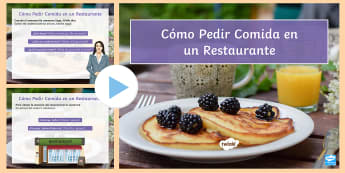 How to Order in a Restaurant PowerPoint Spanish - food, drinks, cafe, bar, order, usted, form, Spanish