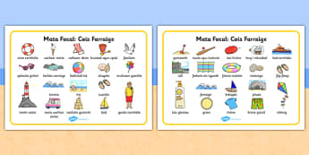 Seaside Word Mat Gaeilge - gaeilge, Writing aid, Under the sea, sea, seaside, topic, water, tide, waves, sand, beach, sea, sun, holiday, coast