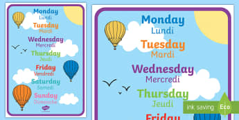 Days of the Week Display Poster English/French - Days of the week, days, display, poster, EAL, translation