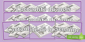 News of the Day Week Month French Display Banner