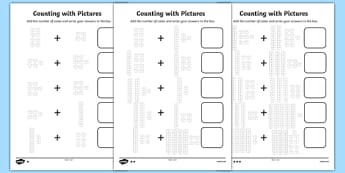 Counting with Pictures Differentiated Activity Sheet Pack, worksheet, base 10 , base ten, diences