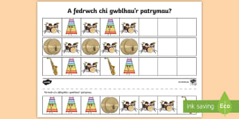 Taflen Weithgaredd Cwblhau Patrwm Offerynnau Cerddorol - patrwm cerddorol, musical pattern, cerdd, music, offerynnau, instruments,Welsh