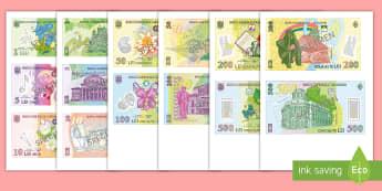 Leul: bancnote Decupabile  - bani, leul, moneda națională, bancnote, matematică, operații cu bani, ,Romanian