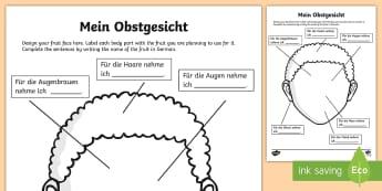 Fruit Faces Art Activity Sheets - German  - Food, German, Fruit, Kunst, Guiseppe, Archimboldo, Obst