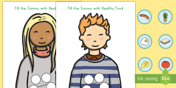Healthy Food Fill the Tummy Activity - helathy food, food, cut and paste, cut outs, tummy