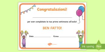 Prima settimana di scuola Certificati - certificato, certificati, ritorno, a , scuola, nuovo, anno, classe, italiano, italian, regalo, mater