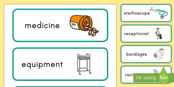 Veterinary Hospital Word Labels  - vet, hospital, labels, pets, display, role-play, role play