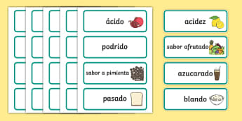 Taste Word Cards-Spanish