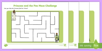 The Princess and the Pea Differentiated Maze Activity Sheet Pack, worksheet