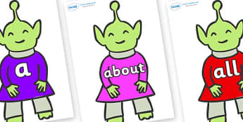 100 High Frequency Words on Aliens - High frequency words, hfw, DfES Letters and Sounds, Letters and Sounds, display words