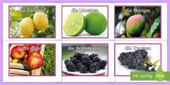 Obstsorten Fotos für die Klassenraumgestaltung - German - Obst, Frucht, Fotos, DAF, DAZ,German