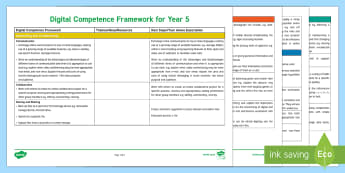 Digital Competence Framework Year 5 Planning Template