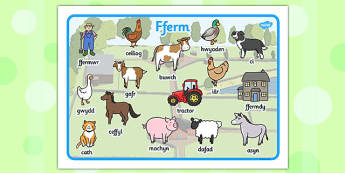 Welsh Farm Word Mat - animals, KS1, Key Stage 1, eary years, display, visual aid