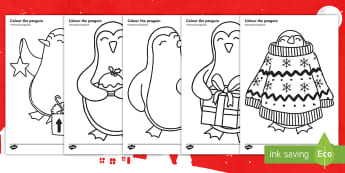 Christmas Penguin Colouring Pages English/Romanian - KS1, Key Stage One, Animal, Festive, Themed, Cute, December, Winter, EAL