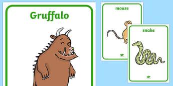 The Gruffalo Display Posters - The Gruffalo, resources, mouse, fox, owl, snake, Gruffalo, fantasy, rhyme, story, story book, story book resources, story sequencing, story resources, Display Posters, A4, display, posters,